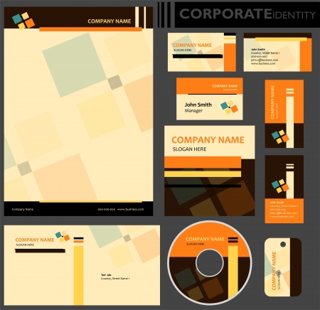 Corporate identity template  Editable set  Design including business paper, cards, ID, CD, envelope and key chain illustration  Vector