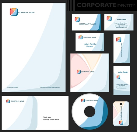 clarity: Corporate identity template  Editable set  Design including business paper, cards, ID, CD, envelope and key chain  Vector illustration