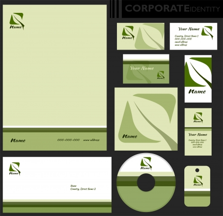Corporate identity template  Editable set  Design including business paper, cards, ID, CD, envelope and key chain  Vector illustration