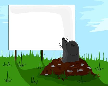 molehill: Mole on molehill looking at a billboard, signboard, advertisement, advertising