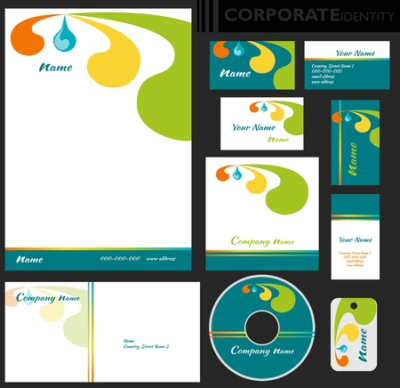 Corporate identity template  Editable set  Design including business paper, cards, ID, CD, envelope and key chain  Vector illustration  Vector