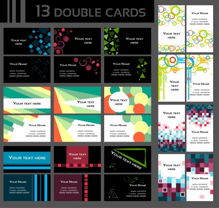 Set of 13 double business cards, colorful, includes front and back of a card, Vectores