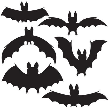 set of black vampire bats on Halloween Vector