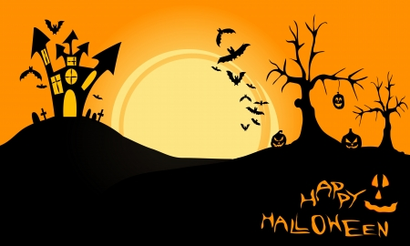 withered: halloween landscape, has a castle on a hill, pumpkins, withered tree, flying bats and the moon at night