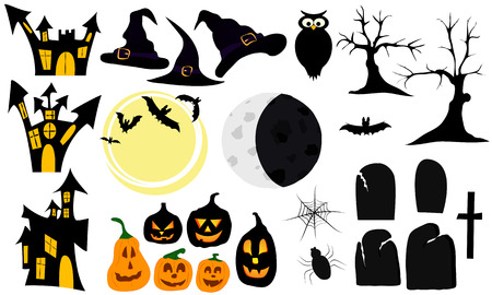 locking: set of graphic elements and symbols for halloween, includes locking, pumpkins, bats, owl, tombstones, trees, hats, spider, spider web, moon and the cross