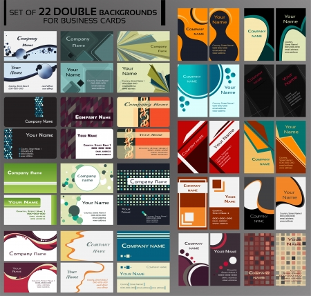 44 Backgrounds for double business cards, contains circles, squares, lines, different shapes, many colors like blue, green, grey, yellow, red, pink, brown, orange and other  Backgrounds on front and back side, vertical and horizontal  Vector