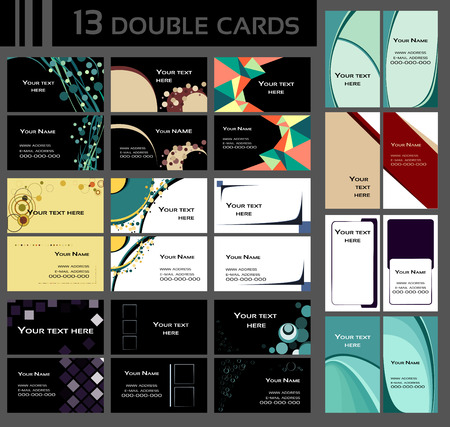 business like: Backgrounds for double business cards, contains circles, squares, lines, different shapes, many colors like blue, green, grey, yellow, red, pink, brown, orange and other  Backgrounds on front and back side, vertical and horizontal