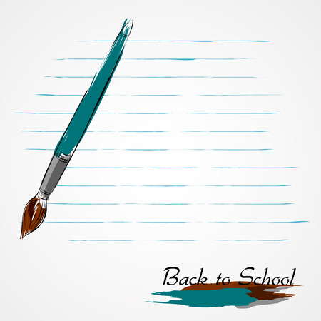 precisely: Hand drawn brush and paper from notebook in lines on light background. Illustration