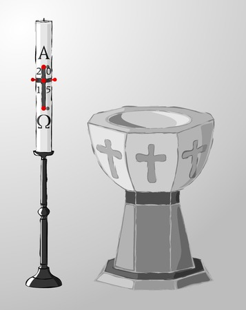 Stone baptismal font and paschal candle on a candlestick