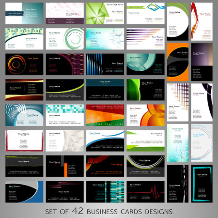 Big Set of business cards designs with many shapes like circles, squares, triangles and other and with many colors.