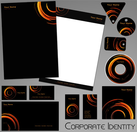 brand identity: Corporate identity template. Editable set. Design including business paper, cards, ID, CD, envelope and key chain. Vector illustration.