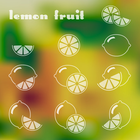 lemon lime: Set of lemon icons with whole and part of fruit on the colorful background