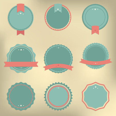 creme: Set of vector badges in retro, vintage style on the light browb creme background