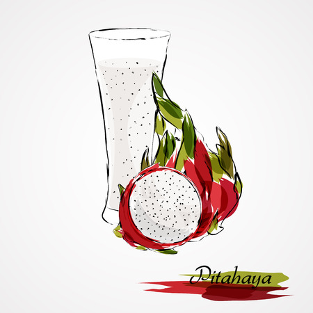 Hand drawn vector red dragonfruit pitahaya ripe fruit and juice in glass on light background Illustration
