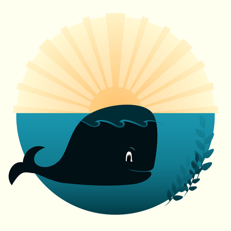 yellow adventure: Vector illustration of a whale at the ocean, sea and the sun sunset
