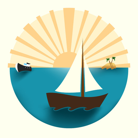 yellow adventure: Vector illustration of an island at the ocean, ship and boat, and the sun sunset Illustration