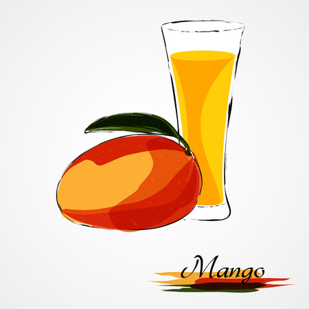 mango juice: Hand drawn vector ripe mango fruit and juice in glass on the light background