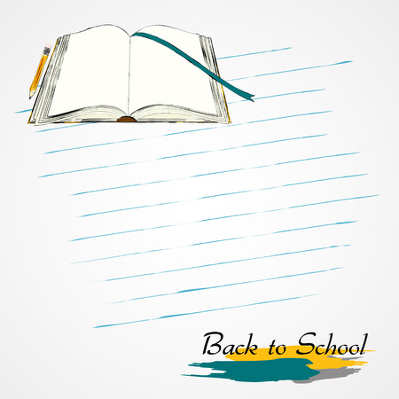 opened book: Hand drawn vector opened book on the light background with stripes