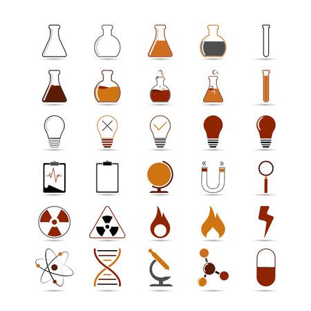 qu�mica: Conjunto de la ciencia vector, icono de la qu�mica para el dise�o sobre fondo blanco Vectores