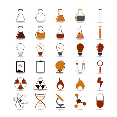 caution chemistry: Set of vector science, chemistry icon for design on white background Illustration