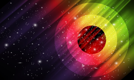 aurora: Vector abstract, colorful space background with imitation aurora and stars