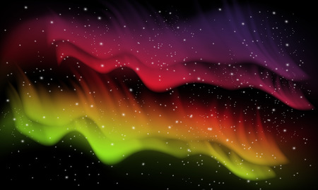 northern: Vector abstract, colorful space background with imitation aurora and stars