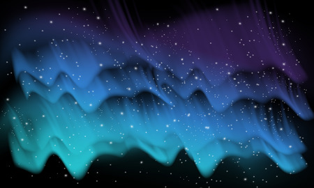 aurora: Vector abstract blue, space background with imitation aurora and stars Illustration