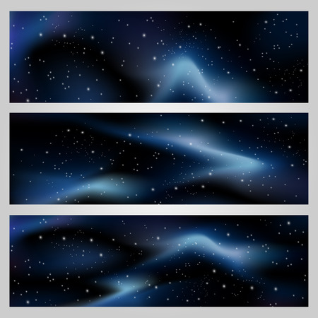galaxies: Vector deep night sky, space background for banners with stars and blue galaxies.