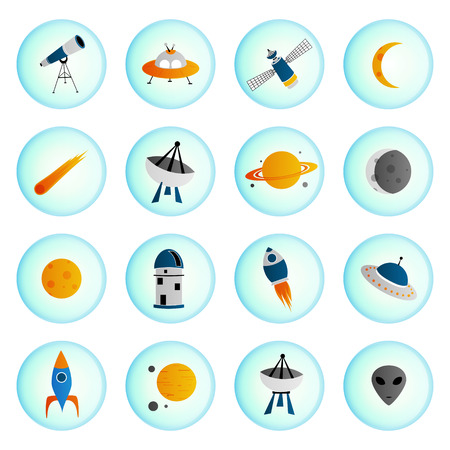 observatory: Set of vector space icons in circle shape, isolated on white background.