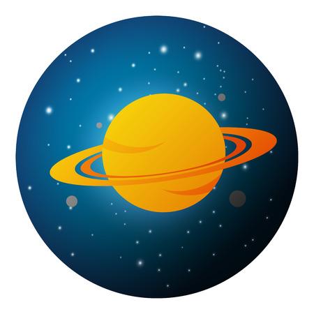 interplanetary: Vector illustration of Planet Saturn on night starry sky
