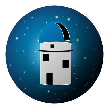 planetarium: Vector illustration of observatory planetarium on night, starry sky Illustration