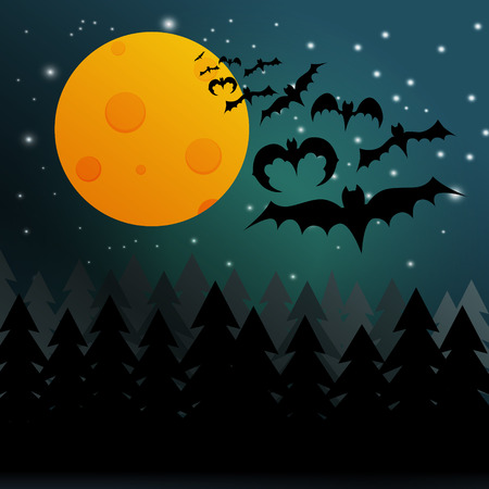 night background: Halloween night background with moon, trees, stars and black bats. Illustration