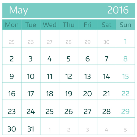 May 2016. Simple european calendar for 2016 year one month grid. Vector illustration.
