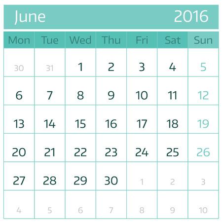 June 2016. Simple european calendar for 2016 year one month grid. Vector illustration.