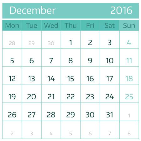December 2016. Simple european calendar for 2016 year one month grid. Vector illustration.