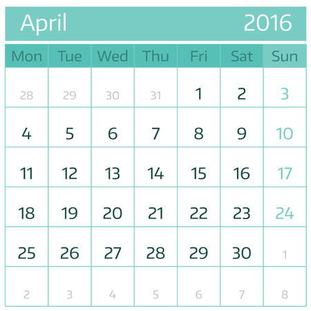 April 2016. Simple european calendar for 2016 year one month grid. Vector illustration. Vectores