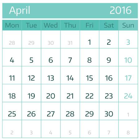 meses del a�o: Abril de 2016. Sencillo calendario europeo para el 2016 el a�o uno rejilla meses. Ilustraci�n del vector.