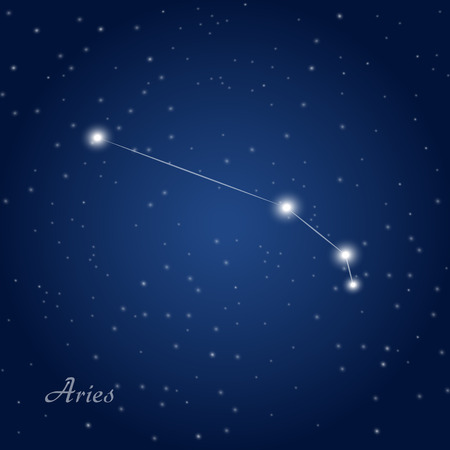 astro: Aries constellation zodiac sign at starry night sky