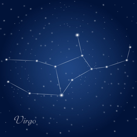 Virgo constellation zodiac sign at starry night sky