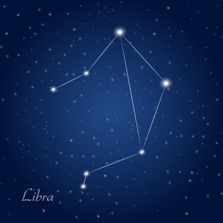 observations: Libra constellation zodiac sign at starry night sky Illustration
