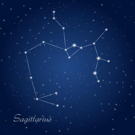 constellation sagittarius: Sagittarius constellation zodiac sign at starry night sky