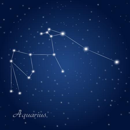 Aquarius constellation zodiac sign at starry night sky Vectores