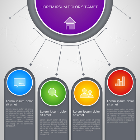 Vector colorful info graphic elements, background for web design, diagram, work flow or presentation and info graphic.