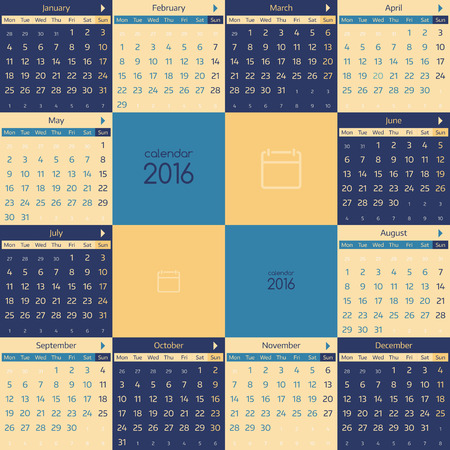 Simple european calendar for 2016 year twelve month grid. Vector illustration.
