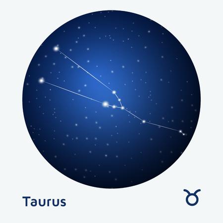 stellar: Taurus constellation zodiac sign at starry night sky Illustration