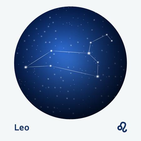 stellar: Leo constellation zodiac sign at starry night sky