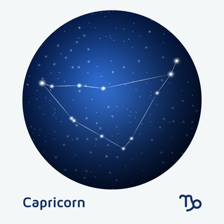 astro: Capricorn constellation zodiac sign at starry night sky Illustration