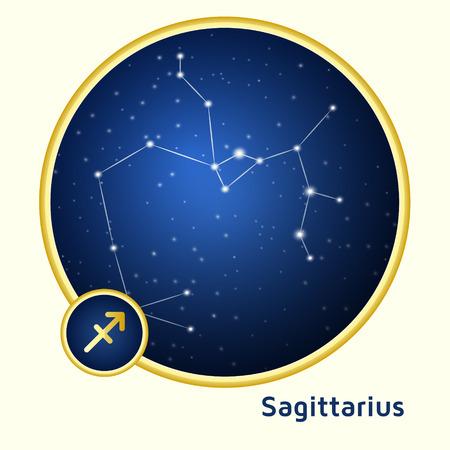 constellation sagittarius: Sagittarius constellation zodiac sign  in golden circle at starry night sky
