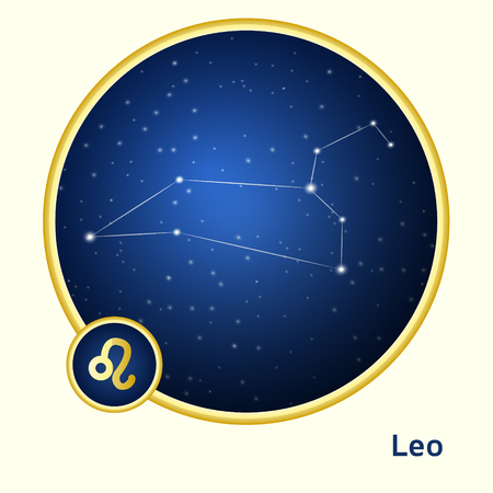 astro: Leo constellation zodiac sign in golden circle at starry night sky Illustration