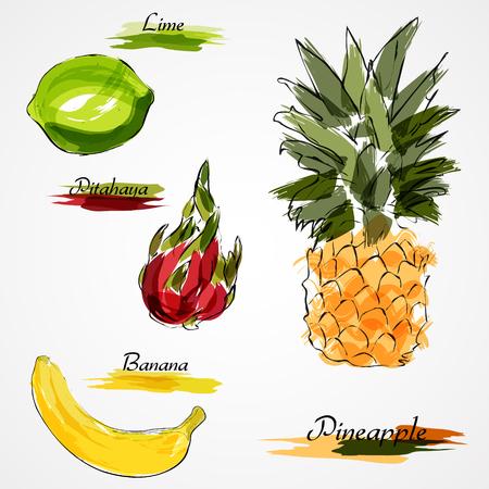 fruit du dragon: Set of whole fruits on light background